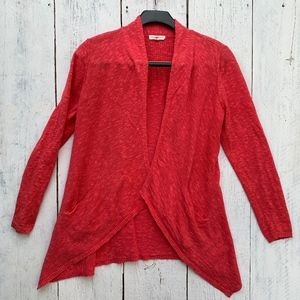Eileen Fisher Coral Red Open Cardigan PM